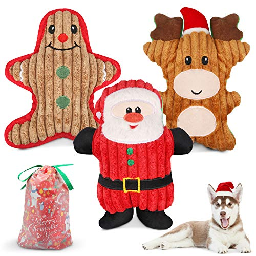 Dreamon Christmas Plush Interactive Dog Squeaky Toys Xmas Gift for Small Medium Large Pet included Ginger Man Reindeer Santa Claus, 3 Pcs Set