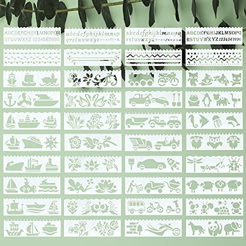 40 Stück Alphabet Blumen Pflanzen Schablonen, Giyiprpi Auto Schablonen Kreuzfahrtschiffe und Tiere Wiederverwendbare Malvorlage, Kunststoff Zeichenvorlage für DIY Handwerk Malen auf Holz oder Papier