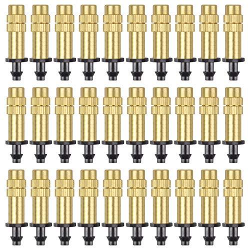 Kalolary 30 Piezas Boquilla Atomizadora de Cobre Ajustable Rociador de Riego Por Goteo 4 / 7mm Microaspersor Atomizador Equipo de Riego de Enfriamiento de Jardín para Invernadero Hortalizas Césped