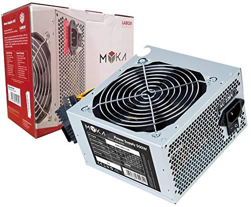 Myka Alimentatore per Case ATX PW-R500 500W 3X Sata 1x IDE (Molex) Tasto On off Retail Ventola 12cm Super Silent