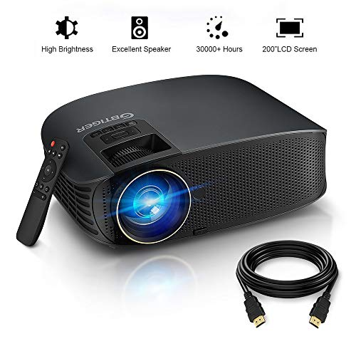 """HD Projector, GBTIGER 4000 lumens LED Video Projector, Full HD 1080P Support, 200"""" Display, Compatible with Fire TV Stick PS4 HDMI USB VGA AV with HDMI Cable (Connect to Smartphone via USB Cable) (YG)"""