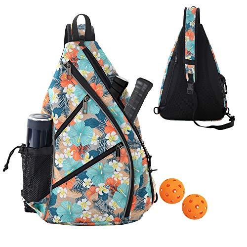 Sling Bag - Crossbody Backpack for Pickleball, Tennis, Racketball, and Travel for Men and Women, Blue Flower