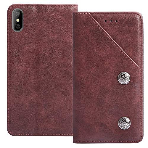 YLYT Flip Rot Schutz Hülle Hülle Für Alcatel OneTouch Pop 4 (6) 7070X Etui Leder Tasche Handyhülle Hochwertiges Stoßfeste Kartenfach Cover