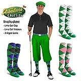 Golf Knickers Mens Albatross Golf Outfit - Lime - Golf Cap, 3 Argyle Socks - Size 36