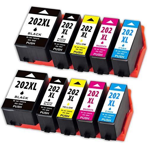 Jagute 202XL Compatible Cartucce d'inchiostro Sostituzione per Epson 202XL 202 per Epson Expression Premium XP-6000 XP-6005 XP-6100 XP-6105 XP6000 XP6005 XP6105 (Pack of 10)
