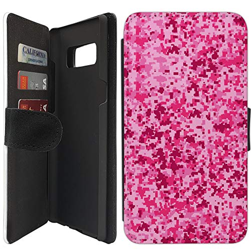 Flip Wallet Case Compatible with Galaxy Note 8 (Pink Digital Camoflauge) with Adjustable Stand and 3 Card Holders | Shock Protection | Lightweight | Includes Free Stylus Pen by Innosub
