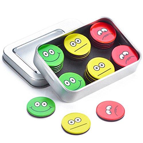 Bunte Smiley-Magnete (30 St;ø 2,5 cm), Ampel-Magnete, Starke haftende Flach-Magnete Kühlschrank-Magnete, extra konzipierte Belohnungs-Magnete, trauriges, neutrales und lustiges Gesicht