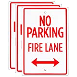 No Parking – Fire Lane Sign (3-Pack) – 18' x 12' Aluminum Safety Warning Sign with Bidirectional Arrow – Easy Mount, Pre-drilled Reflective Signs for Parking Lots, Businesses, & Private Properties