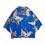 RHH Shop Kimono retro de manga de siete puntos para hombre coreano ancho suelto camisa de protección solar (color: azul, tamaño: XL)