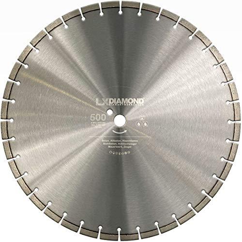 LXDIAMOND Disco de corte de diamante de 500 mm x 25,4 mm, para hormigón armado, hormigón viejo, apto para cortadora de juntas – ARXX Laser diamante 500 mm – Soldado con láser en calidad premium