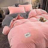 Bedding-LZ bettbezug 155 x 220 cm,Winter Plus Samt verdickende Wärme Reversible Baby Flanell Bettlaken Bettbezug Kissenbezug Geschenk-B_2,0 m Bett (4 Stück)