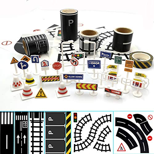 SPRITE WORLD Play Road Tape for Toy Cars & Trains 3 Rolls 1.9' X16.4' Straight Curve Track Traffic Signs Parking Lot Tape – Kids Gifts