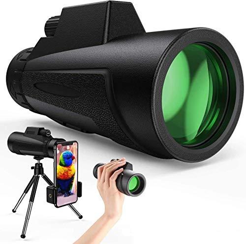 Telescopio 12X50 Monoculares ultra claros de alta potencia con soporte y trípode Alcance de bolsillo impermeable para teléfono inteligente Prisma BAK4 transparente para observación de aves, parti