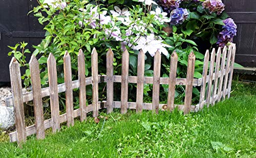 LB H&F Holzzaun Dekozaun Beetzaun Jägerzaun 3 Zaunelemente 120 x 30 cm braun natürlich, zum klappen (Braun 1)