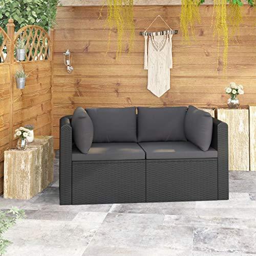 vidaXL Sofás de Jardín y Cojines 2 Piezas Conjunto de Terraza Balcón o Patio en Interiores y Exteriores de Respaldo Ratán Sintético Negro