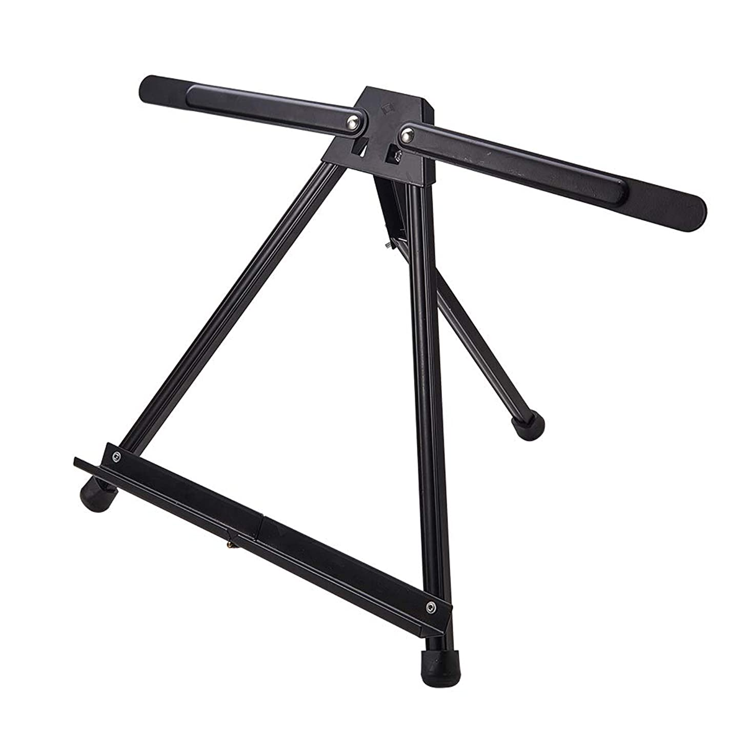PH PandaHall 1 Pack Aluminum Alloy Table Easel Tri-Pod Foldable Easel Artist Display with Rubber Feet Art Supply Table (Double Arms)