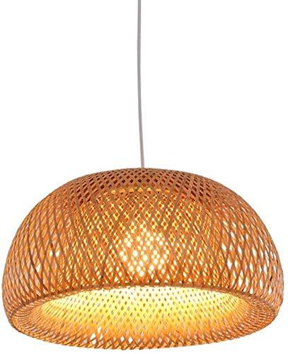 KFMJF Pendelleuchte handgeflochten aus Bambus Pendellampe Kreative Design Lampeschirm Personalisierte Hängeleuchte Rattan Kronleuchter Hängelampe für Esszimmer Schlafzimmer, Ø30cm