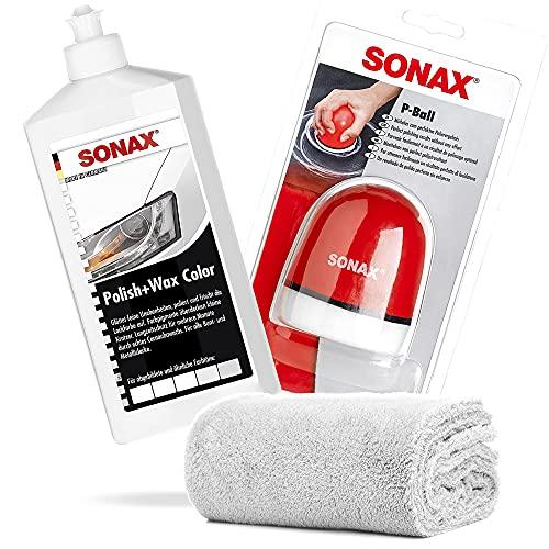detailmate SONAX Hand Polier Set: SONAX Polish+Wax Color weiß 500ml Politur + SONAX P-Ball ergonomischer Polier Ball Edgeless Superflausch Mikrofaser Poliertuch 40x40cm, 550GSM