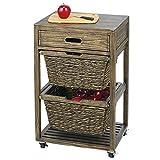mDesign Mueble Auxiliar para Cocina – Moderno Mueble Organizador con 4 Ruedas, cajón y 2 cestas Trenzadas – Cajonera portátil con Marco de Madera Resistente – Negro