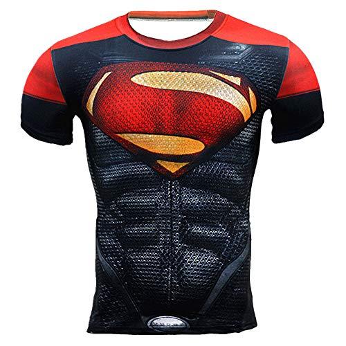 HOOLAZA Superman Red Men Compresión de Manga Corta Camiseta para Hombre Fitness Sport Gym