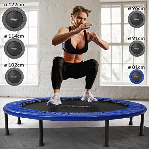 Physionics® Mini Trampolin - Durchmesser Ø 81 91 96 102 114 122 cm, max. Belastbarkeit 100 kg, mit Randabdeckung - Indoor und Outdoor Kindertrampolin, Gartentrampolin