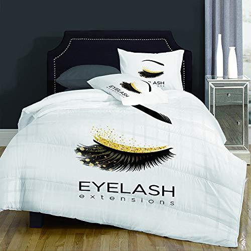 LENYOVO Sets de Housses de Couettes,Lash Eyelash Extension Makeup in Modern Eye Beauty Eyebrow Cosmetic,Mikrofaser 1 Bettbezuge & 2 Kissenbezuge