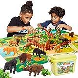 BUYGER Animales de Juguete Salvajes Figuras con Tapete de Juego Selva y Figura de Animales Incluir Tigre, Regalos para Niños Niña 3 4 5 Años