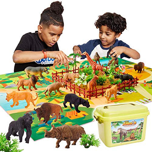Buyger 58 Pezzi Figure Animali Giocattolo con 13 Selvaggio Giungla Animali E Tappetino da Gioco, Regalo per Bambini 3 4 5 Anni