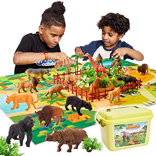 Buyger 58 Pièces Jouets Animaux Sauvages Figurines Enfant avec Tapis de Jeu Cadeau Educatif pour Garçons Filles