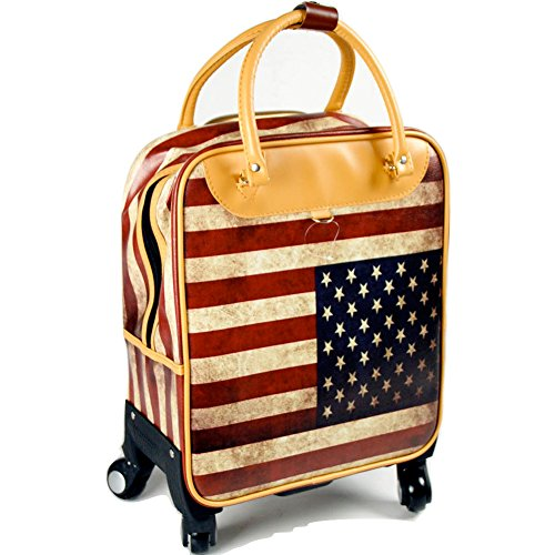 Valigia Trolley Bandiera USA 4 Ruote Similpelle Bagaglio a Mano art. 594922