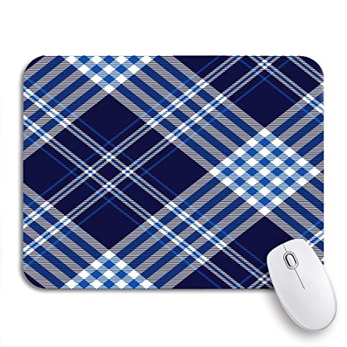 Adowyee Gaming Mouse Pad Plaid Check Muster in Dark Navy Cobalt Blue rutschfeste Gummi Backing Computer Mousepad f眉r Notebooks Mausmatten