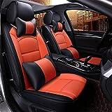 Fundas de asiento de coche universales de piel sintética (color: naranja)