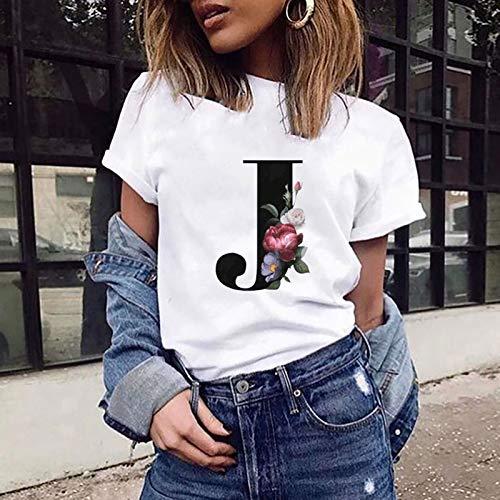 VEMOW Camiseta de Mujer Manga Corta Suelta con Cuello Redondo Talla Grande, Moda Impresión de 26 Letras Inglesas Basica Suelto Verano Camisa Tops Casual Fiesta T-Shirt para el Mejor Amigo(J,M)