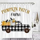 Wencal Pumpkin Patch Farm Buffalo Check Plaid Truck with Crow Farmhouse Shower Curtain Fall Bathroom Decor with Hooks - 72 x 72 Inches