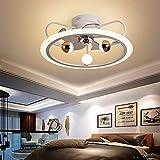 DIRIGIÓ Ventilador de techo Luz de techo moderna con control remoto Tranquilo Ventilador de techo invisible con lámpara Sala de estar Habitación for niños 3 Ventilador de velocidad de viento Iluminaci