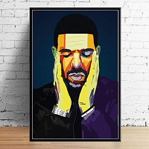 Decoración Artística Wrld J Cole Della Malone Mac Miller Travis Scoot Rapero Estrella Hip Hop Pared Arte Decoración del Hogar Cartel Lienzo Pintura 40X60Cm Sin Marco (A-1353)