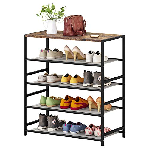 Shoe Rack 5 Tier Shoe Storage Organizer Metal Mesh Shelves with MDF Top Board for Entryway, Hallway, Closet,Bedroom,Living Room (5-Tier, Black)