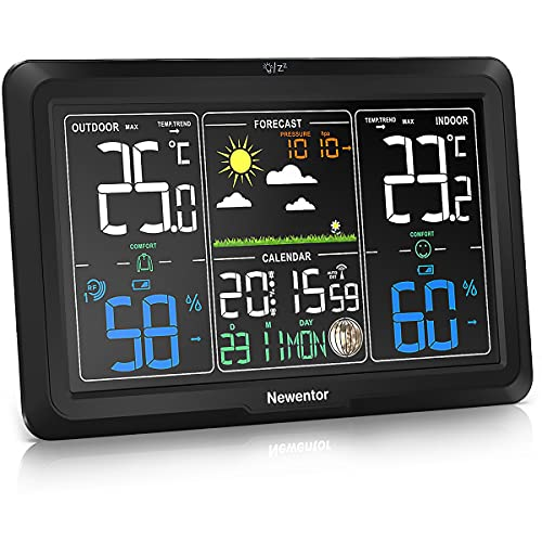 Newentor Wetterstation Funk mit Außensensor, Funkwetterstation mit Außensensor Funk, Wetterstationen Innen und Außentemperatur Funk mit Wettervorhersage, DCF Funkuhr mit Netzteil (Farbdisplay)