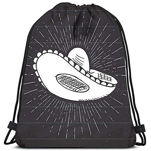 Dingjiakemao Gym Bag Trekkoord Rugzak Tassen Sombrero Mexicaanse Traditionele Hoed Sketch Sport Gym Bag