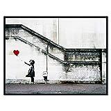 Wieco Art Leinwanddruck Banksy Grafitti Mädchen mit rotem