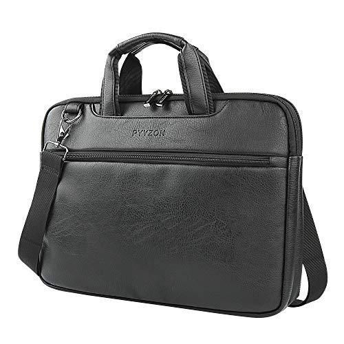 Leather Briefcase 15.6 Inch Waterproof Large Satchel Shoulder Bag Soft Leather Computer Laptop Bag Messenger Business Bag for Men&Women, Black