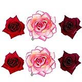 6 Pack Flower Brooch Head Ornament Bride Women Rose Flower Hair Accessories Wedding Hair Clip Flamenco