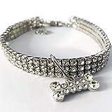 Lodenlli Mini Collar de Perro para Mascotas Collar de Diamantes de imitación de Cristal Brillante Chocker Collares Collar de Perro Elegante para Gatos Elástico Ajustable Joyería para Mascotas