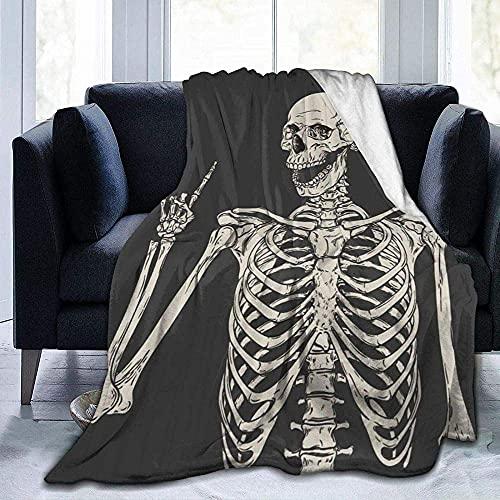 Colcha de calidad cálida y suave y versátil para el sofá, con diseño de calavera, diseño de hueso, para dormitorio, sala de estar, sofá, cama, 152 x 127 cm