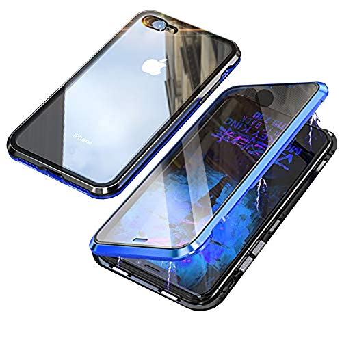 iPhone 7 Plus Case,iPhone 8 Plus Case,360° Full Body,Front and Back of Clear Touchable HD Tempered Glass,with Screen Protector Magnetic Adsorption Metal Frame Cover Ultra Thin Fit 7P/8P,Blue+Black