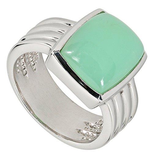 LaLuna Design Damen-Ring Sterling-Silber 925 rhodiniert Chrysopras RW17