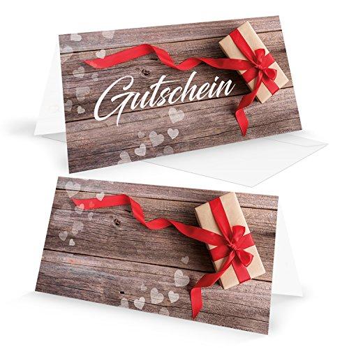 Tegoedbon openklapbare kaart, cadeaubon rood wit hart strik voor klanten medewerkers vrienden cadeau voor Kerstmis verjaardag Valentijnsdag met omslag DIN lang om open te klappen 5 Stück
