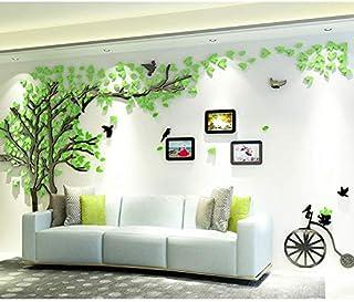 Asvert Hojas verdes Árbol forestal Etiqueta de la pared Acrílico Sofá Inicio Decoración de la habitación (Large, Azul)