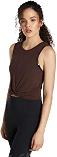 Rockwear Activewear Women's Oasis Twist Knot Crop Chocolate 14 from Size 4-18 for Singlets Tops