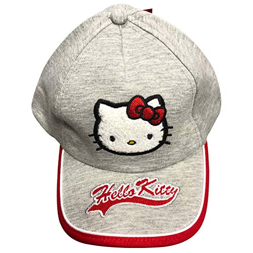 Hello Kitty Embroidered & Applique hat for Infant and Toddler Girls,Adjustable in The Back,100% Cotton,Perfect for Summer Camp,Beach,Pool or Any Outdoor Activity (Ash Grey)